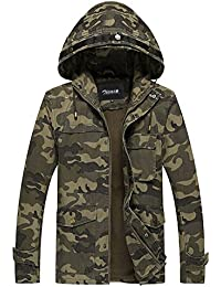 Zicac Manteau veste à capuche camouflage casual Homme pour l`automne et l`hiver
