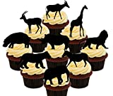 Made4You African Animals/Safari Silhouettes –, Stand-Up Wafer Cupcake-Dekoration, Party-Pack, essbare Kuchen-Dekoration, Pack of 36