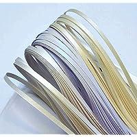 Quilling Papierstreifen, Streifen Farbe metallic-perle von Weiß (3 Schattierungen), 350mm Länge, 150 Stück. Breite 5mm