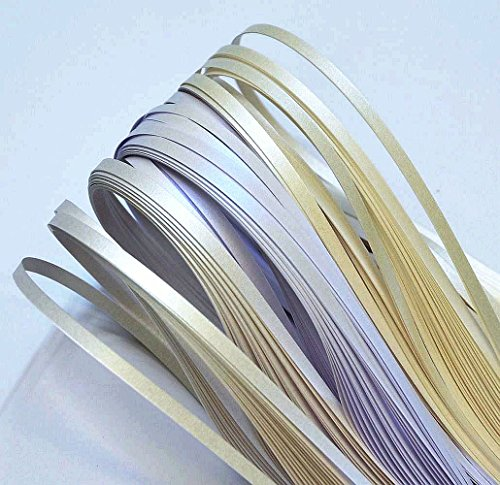 Enitan Quilling Papierstreifen, Streifen Farbe metallic-Perle von Weiß (3 Schattierungen), 350mm Länge, 150 Stück. Breite 3mm -