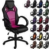 """RACEMASTER® """"GS Series"""" - Silla de escritorio de Racing - Mecanismo de inclinación y elevación - Ideal para videojuegos - Homolación SGS - Disponible en 20 colores - silla de oficina rosa"""