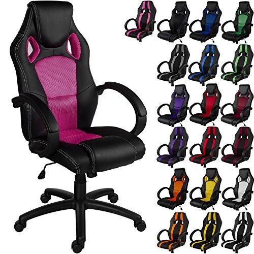 RACEMASTER® 'GS Series' - Silla de escritorio de Racing - Mecanismo de inclinación y elevación - Ideal para videojuegos - Homolación SGS - Disponible en 20 colores - silla de oficina rosa