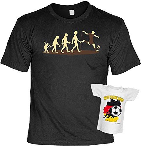 Fußball T-Shirt, Deutschland Fanshirt, Trikot Set mit einem Mini Shirt - Homo Stupidus: Evolution Fußballer