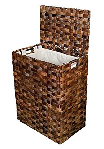 BirdRock Home Abaca Flat Weave Laundry Hamper | Hand Woven | Removable Canvas Laundry Bag by BirdRock (Weave Hamper)