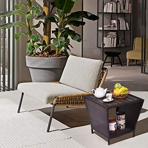 COSTWAY Rattantisch mit Stauraum, Polyrattan Gartentisch Metallgestell, Bistrotisch braun, Beistelltisch Vintage, Balkontisch Holztischplatte, Couchtisch 50x50x48cm