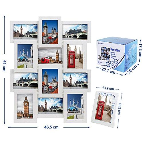 confronta il prezzo SONGMICS Cornice Foto 10x15 cm Multifoto da Parete con 12 Posti di Foto e un Portafoto Singolo da Tavolo Bianco RPF112W miglior prezzo