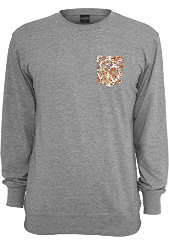 URBAN CLASSICS - Contrast Pocket Crewneck (grey/flower), Gr. M (Crewneck Pocket T-shirt)