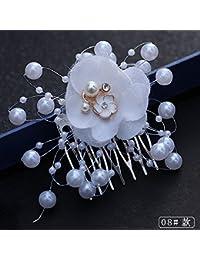 Olici MDRW-Tocado Nupcial De La Horquilla del Salón De Bodas Headwear  Blanco Guirnaldas Accesorios De Boda Vestido De Novia Accesorios… f434c9d04838