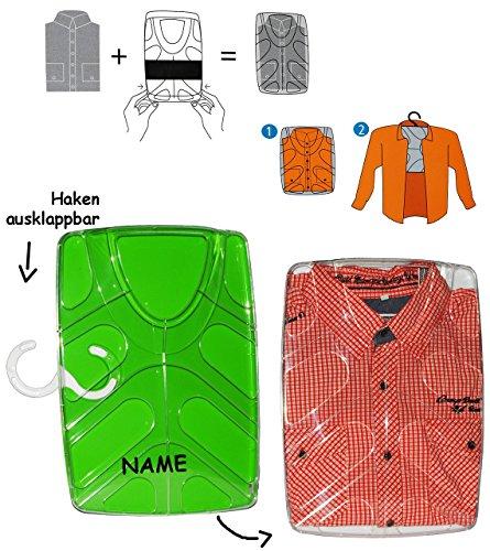 """Hemdenbox - """" grün """" - aus Kunststoff - incl. Namen / kein Hemden knittern mehr - Reisebox - Gepäck - Reisen / Geschäftsreise - Tasche - Box Kiste incl. Kleiderbügel - Hemdentasche - Herren & Damen -"""
