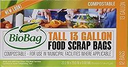 (3 Pack) BioBag 13 Gallon Tall Kitchen Bags / Food Waste Bag, 12 Bags per Box (Total 36 Bags)