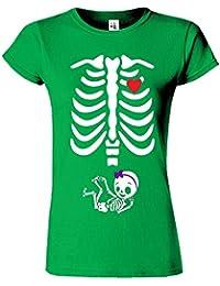 "SNS Online Vert Irlandais - XL - Ajuster: EU 44"" - Adorable Skeleton Heart Dames T Top T-Shirt"