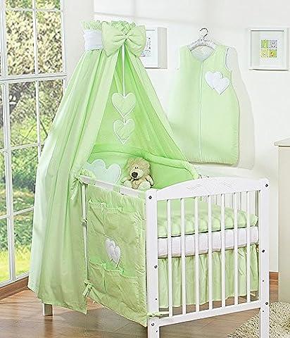 Ciel de lit bébé enfant en tissu vert à coeurs