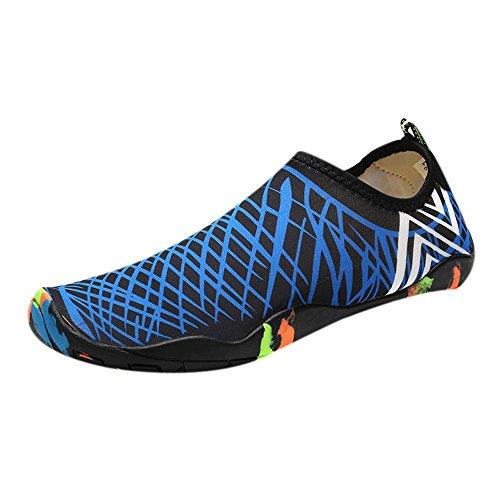 Dorical Tauchschuhe Badeschuhe Damen Herren Schwimmschuhe Kinder Surfschuhe Barfuß Schuhe Wasserschuhe Strandschuhe Aquaschuhe Rutschfeste Schnell trocknend Promo(Blau,41 EU)