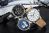 PARNIS Complication 2111 Automatik Herrenuhr Edelstahl-Armbanduhr Lederarmband MIYOTA Schnellschwinger Kaliber 9100 mit Vollkalender und Gangreserve-Anzeige - 8