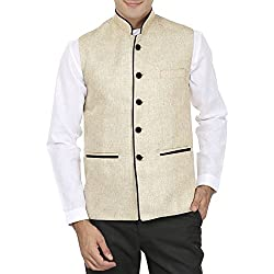 Wintage Mens Poly Cotton Nehru Ethnic Jacket (0Wc101Beiges36_Beige_36)