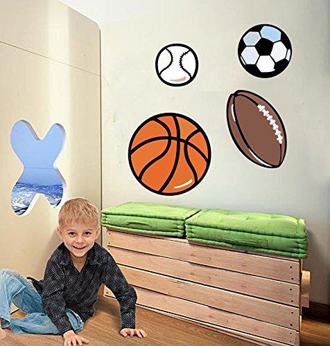 Kinderzimmer Wandsticker Bälle Football Fußball Basketball Baseball Wandtattoo Wandbilder für Jugendzimmer -