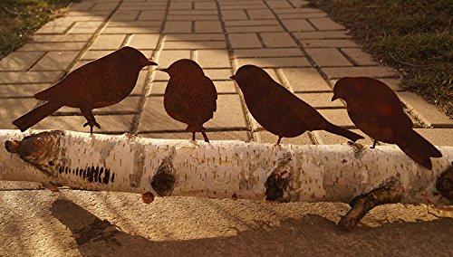 Schraube zum Eindrehen in Holz 4 Vögel Metall (Metall Gartendeko)