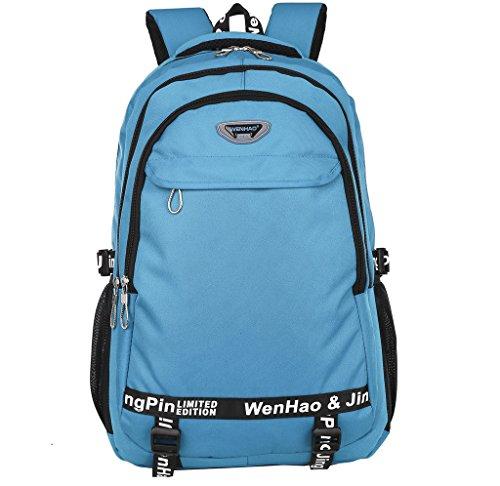 Super Modern - Unisex-Wanderrucksack, Schulranzen, wasserdichtes Nylon, Sportrucksack, Laptop-Tasche, Reiserucksack für Damen, Herren und Kinder. Größe L seeblau