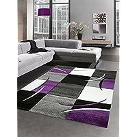 Designer rug living room carpet karo purple grey cream black size 200 x 290 cm