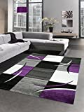 Designer Teppich Wohnzimmerteppich Karo Lila Grau Creme Schwarz Größe 160x230 cm