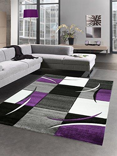 Designer Teppich Wohnzimmerteppich karo lila grau Creme schwarz Größe 160x230 cm - Und Schwarz Teppich Lila