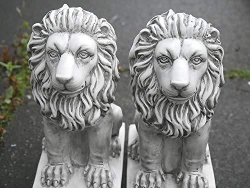 Homezone 2 Stück Steineffekt Harz Sitzen Löwen Tiere Garten Verzierungen Handgefertigt Skulpturen Rasen Statuen Antik Dekor Wildtiere Skulpturen - Outdoor-löwen-statuen