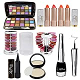 Adbeni Summer Vacation Combo Offer Makeup Set Orange Lipstick 4pc, Lipgloss 1pc, Kajal 1pc, Eyeliner 1pc, Compact 1pc (Assorted), 18 Color Eyeshadow 1pc (Pad A)