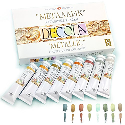 Nevskaya Palitra Acrylfarbe Metallic | 8 x 20 ml Farbset | Metallic Farben (Aztec Keramik)
