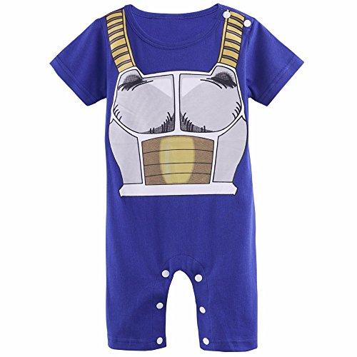 Ropa de bebé de Súperheroe, modelo Vegeta, disfraz original para niños, body, pijama, 100% algodón Talla:6 mois (5.5 - 7 kg / Longueur 60-66 cm)