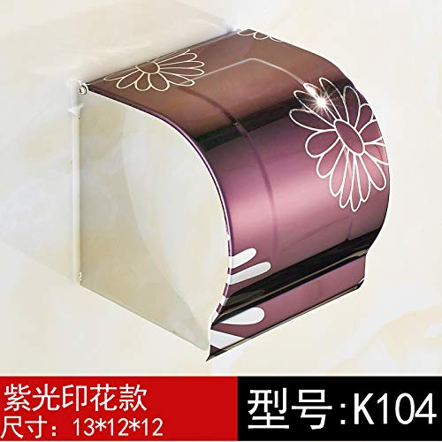 Joeesun Edelstahl Toilettenpapierhalter Bad Tissue Box Bad Roll Fach WC wasserdichte Papierhandtuchrolle Papierrolle Papierhalter K104 lila Licht Druck langen Abschnitt