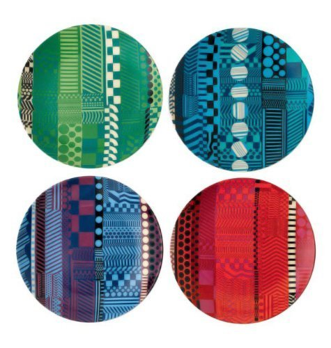 Royal Doulton Paolozzi Fine Bone China Accent Tidbit Plates Set/4 Mixed by Royal Doulton Royal Doulton Bone China