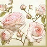 'Beauty Roses' - Pack of 20 paper napkins - 33x33cm - 3ply - Floral Decoupage Shabby Chic