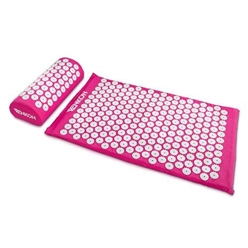 Akupressur-Set mit Tragetasche - Pink 2-teiliges Set - Massagekissen und Massagematte zur Schmerz Behandlung - Grinscard