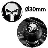 1 x Schalthebel Aufkleber Schaltknauf Emblem Silikon Sticker Punisher Skull Schädel Totenkopf Durchmesser 30mm Auto Moto Zubehör Motorrad Tuning JDM S 53