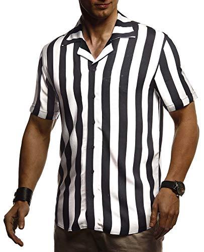 LEIF NELSON Herren Hemd Kurzarm Oversize Kentkragen | Stylisches Männer Hawaiihemd Stretch Kurzarmhemd | Jungen Basic Shirt Freizeit Urlaub Sommerhemd | LN3675 Weiß-Schwarz X-Large