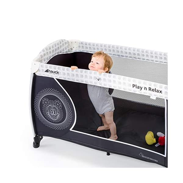 Hauck Play'n Relax, Portable Foldable Travel Cot Crib Bed Playpen for Children, from birth Up To 15 kg, 66 x 120 cm, with Net, Folding Mattress, Lateral Opening, Disney Design, Mickey Cool Vibes  Untippable design -  The playpen is smaller at the top than the bottom to improve the stability of the cot Stylish frame -  The exposed metal uprights of the frame give the play n relax a modern look Compact fold - Folds down to just 21.5 x 21.5 x 78cm making it easy to fit in the boot and take to grandma's house 10