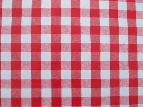 THE TABLECLOTH COMPANY 140 x 250 cm Nappe Ovale en PVC/Vinyle Motif – Carreaux Vichy Rouge
