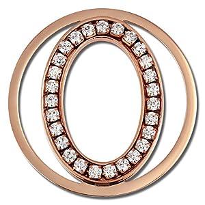 Amello Edelstahl Coin Oval rosevergoldet Zirkonia Schmucksteine weiß Stahlschmuck für Damen ESC535EW
