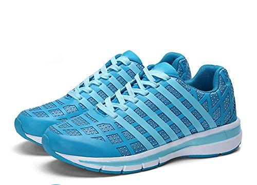 scarpe fluorescenti signora sneakers in mesh traspirante scarpe casual leggeri scarpe da corsa piana scarpe ascensore signora caduta Blue