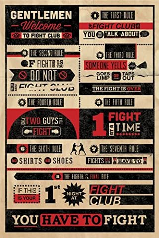 MoviePosterDirect Poster inspiré du film Fight Club avec règles du Fight Club en anglais 61 x 92 cm