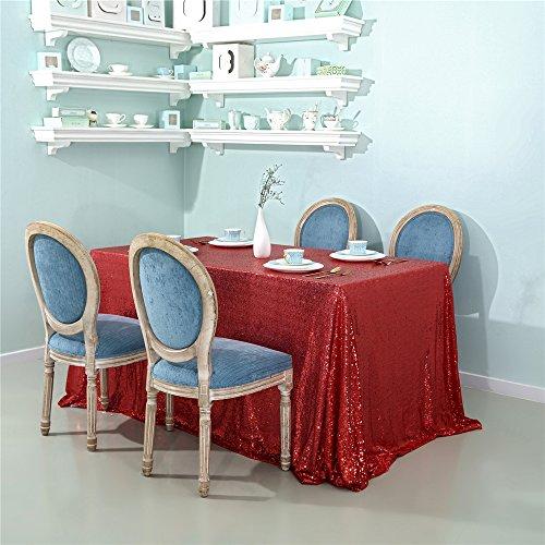 Zdada Pailletten Tischdecke Sparkly Tisch Cover für Home Dekoration R-55x102inch Rot
