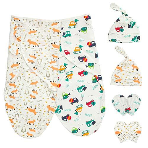 HBselect 2 Set Pucktuch Baby Pucksack Mutze Handschuhe Set 100{b009966c45f5055bf87a7f09d567279ed040d60b04babb1b6a90658ef2b38e33} Baumwolle für Baby Neugeborene für bis 6 Monate
