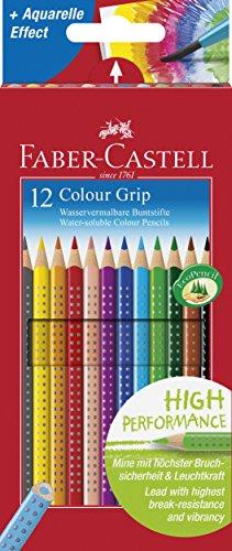 Faber Castell 112412 – Estuche de cartón con 12 Ecolápices triangulares de colores, agarre Grip, acuarelables, lápices escolares