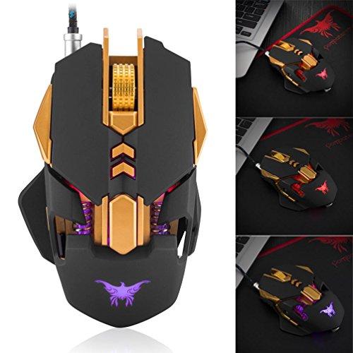 hkfv amaizng Einzigartige Creative Gaming-Mäuse für Spieler CW50Wired Gaming Maus 7Tasten Lasermaus Tuning 4Farbe Breathing LED-Licht