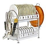 SH-lsj Edelstahl-Abtropfgestell mit Abtropfschale und Besteckhalter Multifunktions-Küchenregale (2-Tier)