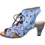 Simen 0280A Damen Pumps Schnürpumps Lasercuts Motiv Blau (Jeans), Größe 39
