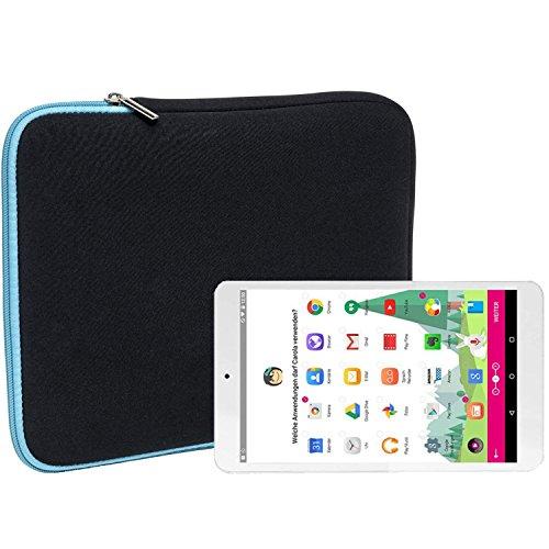 Slabo Tablet Tasche Schutzhülle für Telekom Puls Hülle Etui Case Phablet aus Neopren – TÜRKIS / SCHWARZ