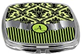Rikki Knight Compact Mirror, Letter A Initial Lime Green Damask And Stripes