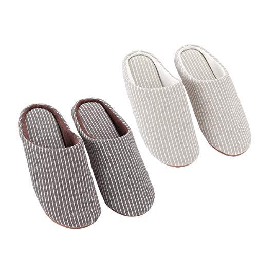 Preisvergleich Produktbild AimdonR 2 Paar Innen Hausschuhe Warme Farbstreifen Slip-Sohle Paar Hausschuhe Warme Wolle