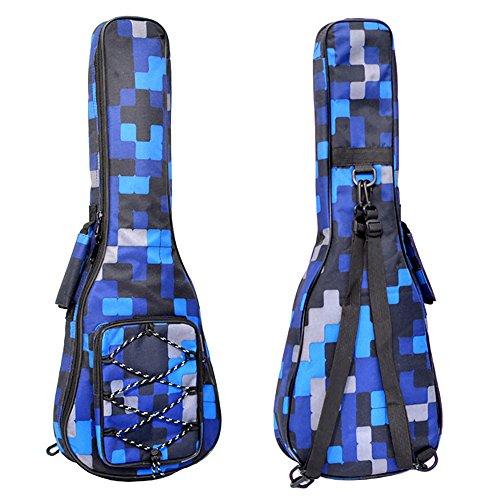 Zealux® Ukulele-Tasche, mit zwei verstellbaren Schulterriemen und 10 mm dicker Schwammpolsterung 23/24 in Blue Lattice